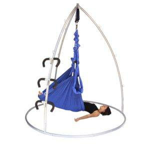 Pelvic traction on the Omni Gym suspension stand with yoga swing